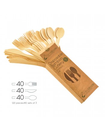 Disposable Bamboo Cutlery 120 Pack