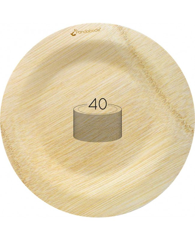 Disposable Bamboo Plates 40 Pack